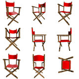 Chairs. Red woody 3D director chair in many profiles royalty free illustration