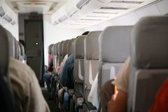 Chairs in airplane stock photography