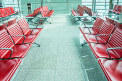 Chairs in the airport lounge area Stock Photo