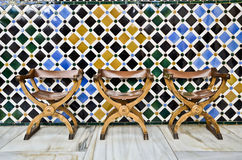 Chairs in the Alhambra. Detail of chairs in the Alhambra Royalty Free Stock Images