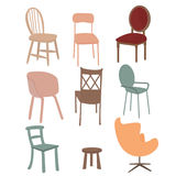 Chairs armchair furniture icon set flat interior graphic illustration Stock Photography