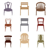 Chairs and Armchairs Silhouette Set. Modern and Ancient Furnitur Stock Photos