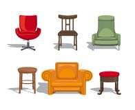 Chairs, armchairs, stools icons Stock Photo