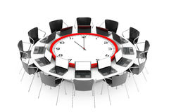 Chairs around a Table with Clock in the middle. 3d Rendering Royalty Free Stock Images