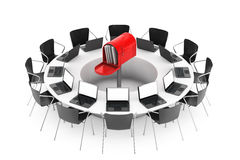 Chairs around a Table with Red Mailbox in the middle. 3d Renderi Stock Photography