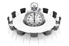 Chairs around a Table with Stopwatch in the middle. 3d Rendering Stock Photo