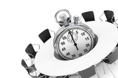 Chairs around a Table with Stopwatch in the middle. 3d Rendering Stock Image