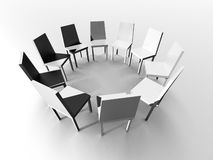 Chairs arranged in circle. Three dimensional, illustration of gray chairs arranged in circle on white gradient background Stock Photo