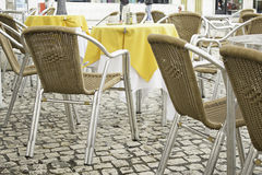 Chairs in bar tablecloth Stock Image