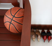 Chairs with a basketball. Difference Stock Photo