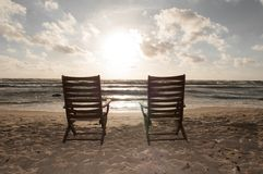 Chairs at the Beach 2. Empty Chairs at the Baltic Sea Beach Royalty Free Stock Photo