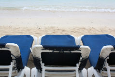 Chairs on the Beach. Montego Bay Jamaica Grand Palladium Lady Hamilton Resort royalty free stock photo