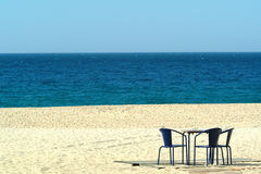 Chairs in the beach. Chairs in the sand of beach Stock Image
