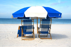 Chairs on the beach (closeup) Royalty Free Stock Photos