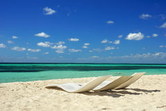 Chairs on the beach, Cozumel, Mexico Stock Photo