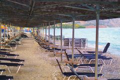 Chairs at the Beach - No People. Kineta Beach in Athens, Greece Stock Photography