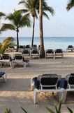 Chairs on the Beach on the Sunset. Barcelo Maya Colonial Resort, Riviera Maya stock photo