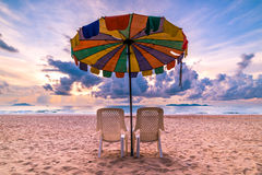 Chairs and beach umbrellas Stock Image