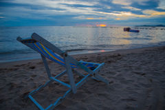 Chairs with Beautiful sunset and sky of the sea, perfect sky and water. Royalty Free Stock Images
