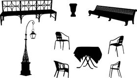 Chairs, Benchs, Street Lamp And Table Stock Image
