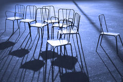 Chairs in blue. Chairs in a Paris park in blue Stock Image