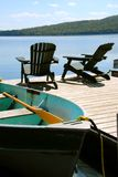 Chairs boat dock Royalty Free Stock Photography