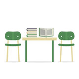 Chairs With Books On Table Stock Images