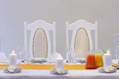 Chairs the bride and groom before wedding reception Royalty Free Stock Photography
