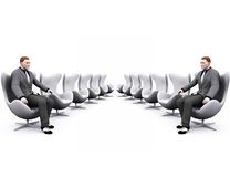 Chairs and businessman Royalty Free Stock Photo