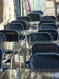 Chairs in cafe. Chairs in a cafe at Tzfat street Stock Photo