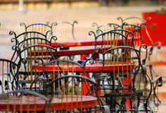 Chairs in the cafeteria on the terrace after the rain. Stock Image