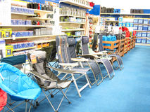 Chairs in a camping store. Stock Images