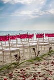 Chairs at a Caribbean beach wedding Stock Images