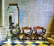 Chairs of Cathedral of Almudena Stock Images