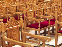 Chairs in a church. A close view to the interior of a church royalty free stock photography