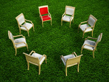 Chairs in circle formation Stock Image