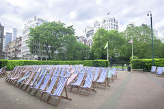 Chairs in city park, London Royalty Free Stock Photos