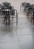 Chairs coffee bar - rain day Royalty Free Stock Photo