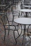Chairs coffee bar - rain day stock image
