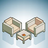 Chairs & Coffee Table. (part of the Modern Furniture Isometric 3D Icons Set Stock Images