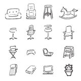 Chairs and couchs cartoon drawing icons Stock Photos