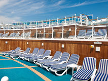 Chairs on deck. Chairs on the deck of the cruise ship Stock Photography