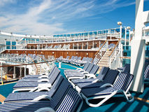 Chairs on deck. Of the luxury cruiser Stock Images