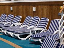 Chairs on deck. Of the cruise ship Stock Image