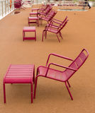 Chairs on deck of river cruise boat in rain Royalty Free Stock Images