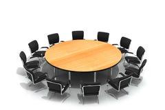 chairs den runda tabellen för konferensen Fotografering för Bildbyråer