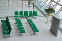 Chairs in departure hall Royalty Free Stock Photos