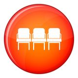 Chairs in the departure hall icon, flat style Royalty Free Stock Photos