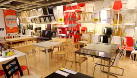 Chairs and desks in ikea furniture supermarket,  modern furniture store, furniture shop Stock Photography