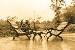 chairs det trädäcket Fotografering för Bildbyråer